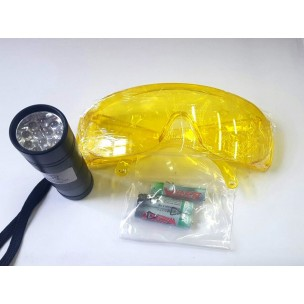 Течеискатель ультрафиолетов. Очки    (DRA203UN+12.009) (очки + фонарь короткий   на батарейках )